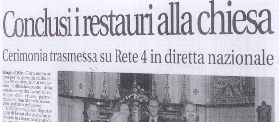 """Conclusi i restauri della chiesa su """"La Sesia"""""""