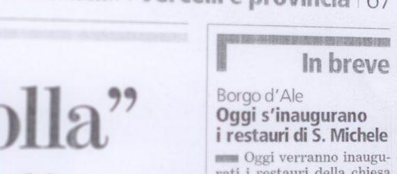 """Inaugurati i restauri di S. Michele su """"La Stampa"""""""