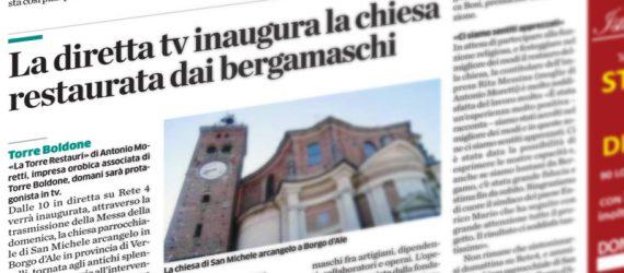 """La chiesa restaurata su """"L'eco di Bergamo"""""""